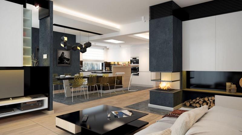 Совместная гостиная с кухней