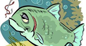 Рыба, крючок с червяком